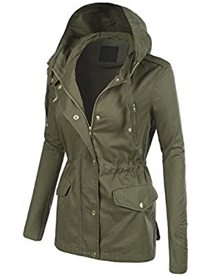 BEKDO Womens Lightweight Military Anorak Jacket Hood and Waist Drawstring