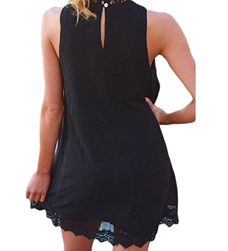Coolred Out Sexy Hollow Dress Patched Women Sleeveless Black Lace Mini qqHCa