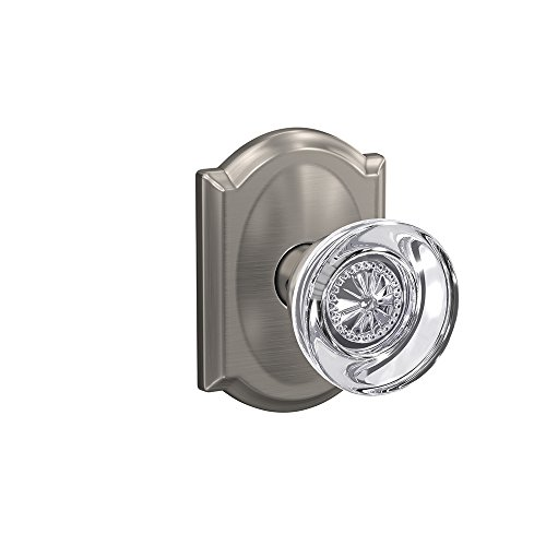 - Schlage Custom FC21 HOB 619 CAM Hobson Glass Knob with Camelot Trim Hall-Closet and Bed-Bath Lock, Satin Nickel