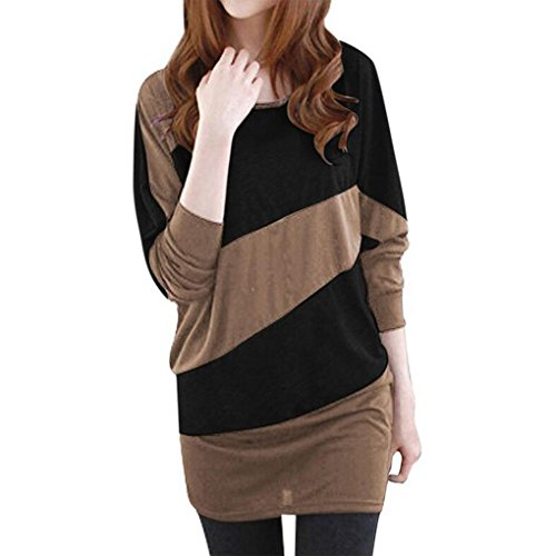Women Color Block Batwing Sleeves Tunic Top