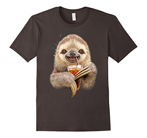Sloth Shirt: Sloth And Soft Drink T-Shirt - Male X-Large