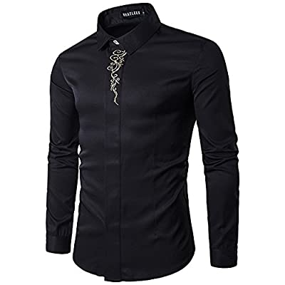 MAGE MALE Men's Embroidery Long Sleeve Slim Fit Casual Inner Button Down Dress Shirt