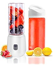 Personal Size Portable Smoothie Blender - USB RechargeableMini Blender with Glass Cup, 420ML Handheld Juicer Cup forSports and Travel (White)