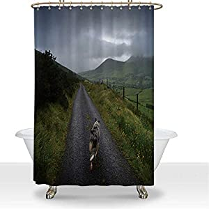 ALUONI Rough Collie Dog on Road in Highlands Waterproof Shower Curtain Get Naked Shower Curtain,for Bathroom,66''W x 72''H 4