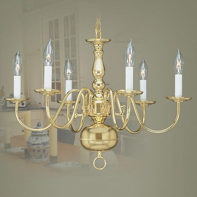Williamsburg Six Light Chandelier in Antique Brass