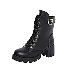 SUKEQ Women PU Leather Chunky Heel Platform Ankle Boots Lace Up Short Plush Motorcycle Biker Army Martin Boots (6.5 B(M) US, Black)
