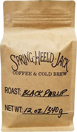 Spring-Heel'd Jack's Roasted Coffee - Four Separate Blends Made with Single-Source Arabica Coffee Beans (12-ounce resealable bags) - Ground or Whole Bean (Black Phillip, Ground)