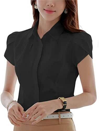DPO Women's Cotton Collared Pleated Button Down Shirt Short Sleeve Blouse