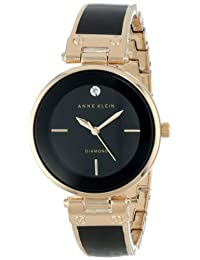 Anne Klein Women's AK/1414BKGB Rose Gold-Tone and Black Diamond-Accented Bangle Watch