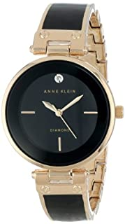 Anne Klein Women's AK/1414BKGB Rose Gold-Tone and Black Diamond-Accented Bangle Watch (B00DND9KGG) | Amazon Products