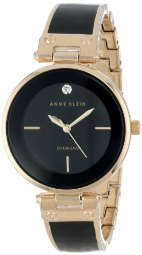 Anne Klein Women's AK/1414BKGB Diamond-Accented Bangle Watch