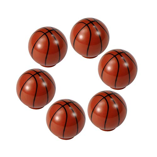 ZILucky Basketball Drawer knobs Ball Sports Party Theme Children and Baby Home Decor Drawer Pulls Handles for Dresser Cupboard Wardrobe Cabinet Kitchen Knobs Pack of 6 (Basketball)