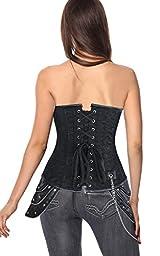 Charmian Women\'s Steampunk Brocade Steel Boned Underbust Corset with Hip Panels Black X-Large
