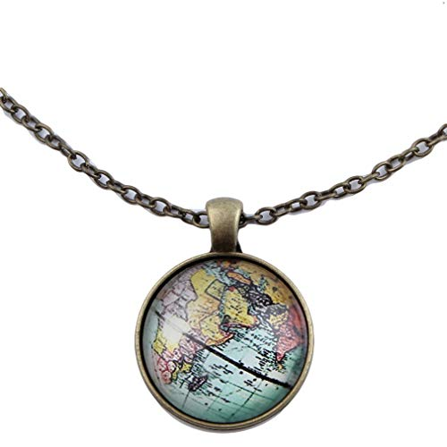GloryMM Map Glass Necklace Vintage Earth Map Pendant Sweater Chain Faux Gemstone Round Geometric Necklace,Bronze (Gemstone Necklace Geometric)