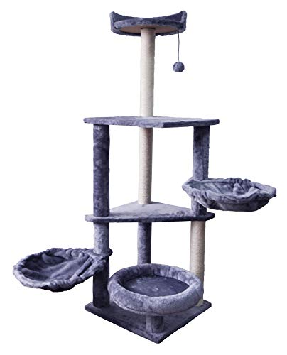 WIKI 06G Cat Activity Tree Three Levels and Two Hammocks pet Playing Tower Cat Tower Furniture Jute-Covered Scratching Posts Grey