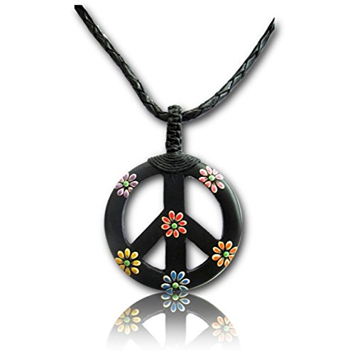 Earth Accessories Adjustable Peace Sign Pendant Necklace with Organic Wood - Peace Sign Symbol Pendant