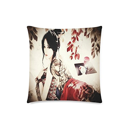 Japanese Art Geisha Girl Rectangle Sofa Home Decorative Throw Pillow Case Cushion Cover Cotton Polyester Twin Side Printing 18 x 18 inches