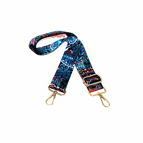 M-W 1.5 Wide 28-50 Adjustable Length Handbag Purse Strap Guitar Style Multicolor Canvas Replacement Strap Crossbody Strap, With 2Pcs Metal Buckles (style1)