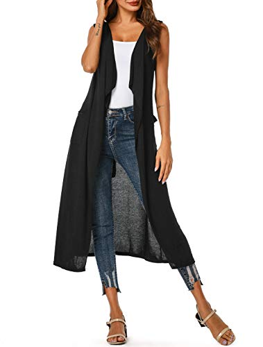 UUANG Womens Shawl Neck Open Front Casual Knitted Ruffle Cardigans with Pockets (Black,M)