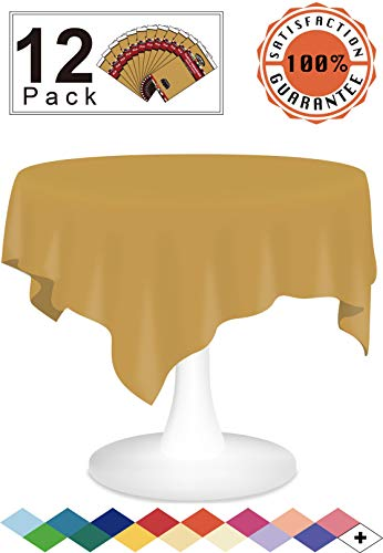 (Plastic Tablecloths Gold Disposable Table Covers 12 Pack Premium 84 Inches Round Table Cloth for Round Tables up to 6 Feet and for Picnic BBQ Birthdays Weddings any Events Occasions, PEVA Material)
