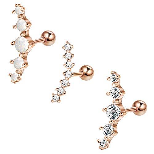 LOLIAS 3Pcs 16G Cartilage Stud Earrings Women Girls Conch Helix Piercing Jewelry Set,RG