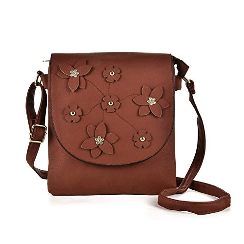 Foldover High Brown Flower Leather Cross PU Decoration Body Fashion Women Quality YOUNG SALLY Bag Z0qwa0