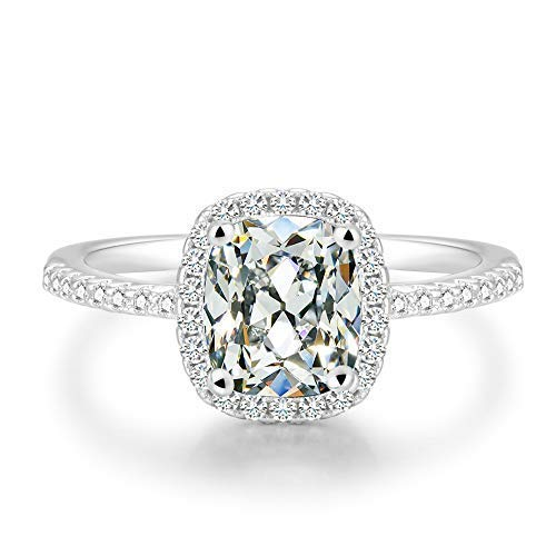 - BeFab 2.25 Ct Cushion Cut Anniversary Ring Cubic Zirconia Accented Halo Engagement Ring (Silver, 7)
