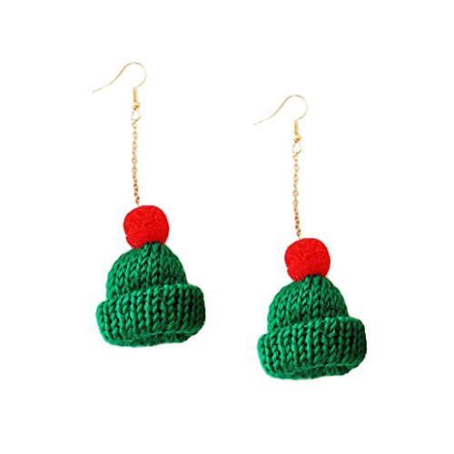 Challyhope Women Fashion Cute Hat Dangle Earrings Wool Fur Ball Ear Hook Eardrop Earring Gift For Teen Girls (Green - Long, Alloy) ()