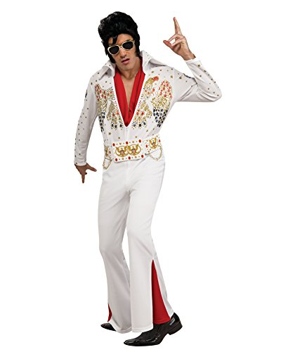 Deluxe White Jumpsuit Costumes (Mens Deluxe Elvis Impersonator Costume Celebrity Costume 60s 70s Retro Jumpsuit Sizes: Medium)