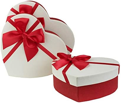 Luxurious RED heart shaped storage gift boxes with satin bow detail wedding
