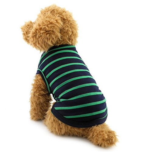 Cotton Armoire (Pet Stripes Vest Summer T-Shirt Cotton Boys Male Doggy Clothes Small Dog Cat Puppy Apparel Chihuahua Costume Green XL)