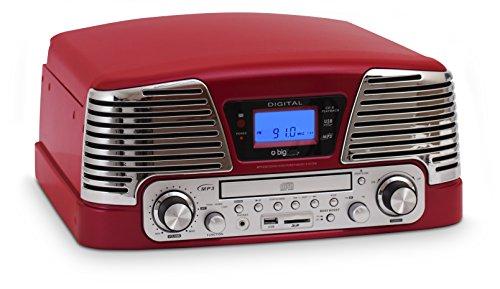 Bigben TD79RM - Tocadiscos de 3 velocidades (33/45/78 rpm), color rojo