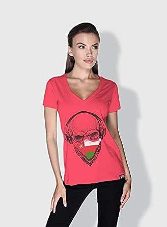Creo Oman Skull T-Shirts For Women - L, Pink