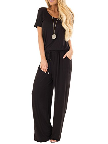 Coutgo Womens Wide Leg Jumpsuits Casual Short Sleeve Crew Neck Loose Long Pants Romper with Pockets (Long Black Jumper)