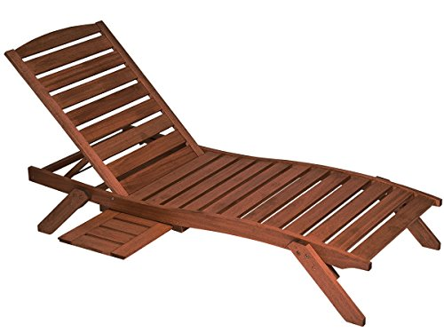 - Butzke Mestra Eucalyptus Wood Chaise with Side Shelf, Brown