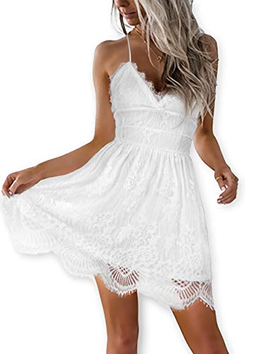 Beaded Sheer Gloves (AOOKSMERY Women White Summer V-Neck Spaghetti Straps Lace Backless Party Club Beach Mini Dresses (White, Small))