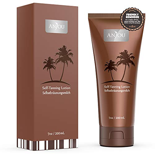 Anjou Self Tanner, Natural Sunless Tanning Lotion for Bronzing and Golden Tan, Streak-Free Medium or Dark Gradual Tan for Body, Natural Ingredients and Nourishing Formula, 7 fl.oz