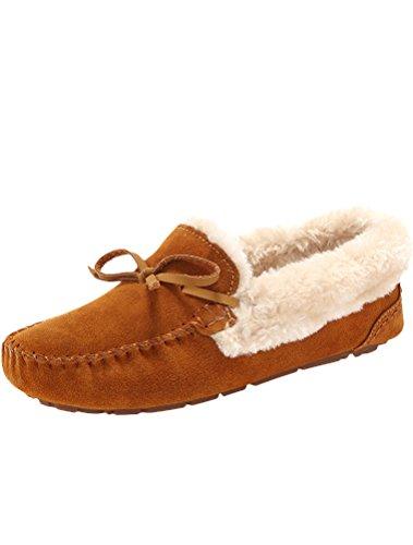 Matchlife Invernali Piatta marrone Chiaro Style3 Pelliccia Donne Epoca Scarpe adO6wazq