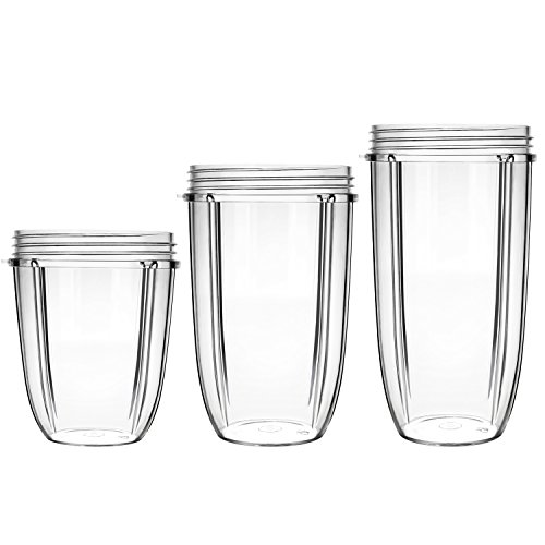 18OZ / 24OZ /32OZ Replacement Mug Large / Tall / Small Cups for Nutri Bullet Blender Juicer Mixer Parts and Accessories 3PCS/Set by Yesurprise