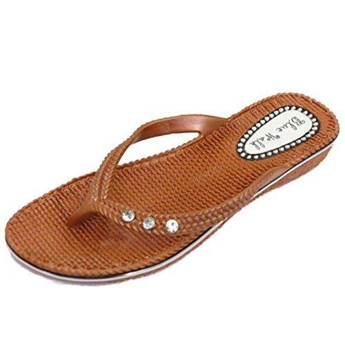 Damen Flach Bronze Zehensteg Sandale Flip Flop Strandurlaub Tanga Sommer Schuhe Größen 3-8