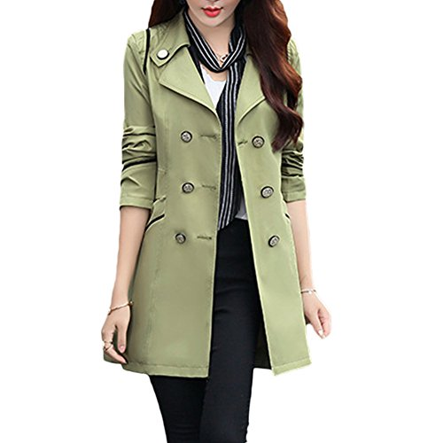 Verypoppa Women's Double Breasted Lapel Thin Trench Coats Jackets (US 6/8, Army (Double Breasted Jacket)
