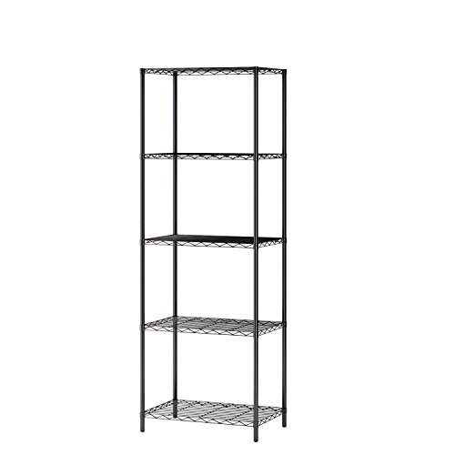 MULSH 5-Tier Wire Shelving Metal Wire Shelf Storage Rack Durable Organizer Unit Perfect for Kitchen Garage Pantry Organization in Black, 21