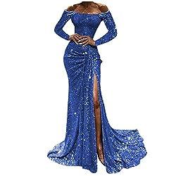 Sequin Off-Shoulder Long Sleeve Slit Gown