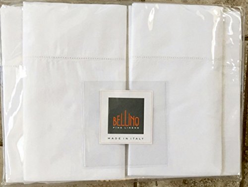 Italian Bellino Solid Hemstitch Sheet Set, King Sheet Set, WHITE ()