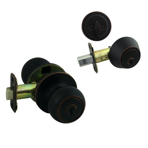 Cosmas 20 Series Oil Rubbed Bronze Entry Knob with Matching Single Cylinder Deadbolt Combo Pack Keyed Alike (We Key Lock Orders Alike for Free) ()