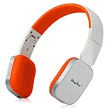KingYou HD-01 Foldable Wireless Bluetooth Headphones HiFi Bass Headset with Mic for Phone Laptop TV (White with Orange)