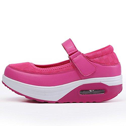 fereshte Women's Casual Handwork Leather Upper Air Platform ToneTM Skylar Flat Shoes Mesh Rose Red Vn48Kq1