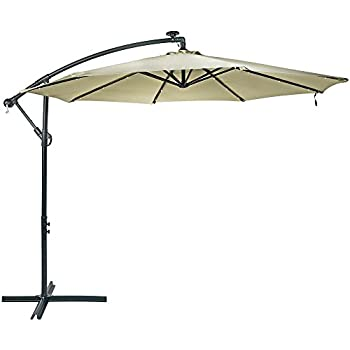 Sunnydaze Steel 10 Foot Offset Solar LED Patio Umbrella With Cantilever,  Crank, And Cross Base, 8 Steel Ribs, Beige