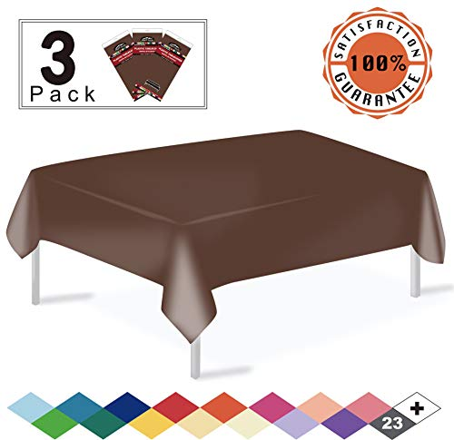 Brown Plastic Tablecloth (Brown Fall Plastic Tablecloths Disposable Table Covers 3 Pack Premium 54 x 108 Inches Table Cloths for Rectangle Tables up to 8 Feet and for Picnic Birthdays any Events Occasions,)
