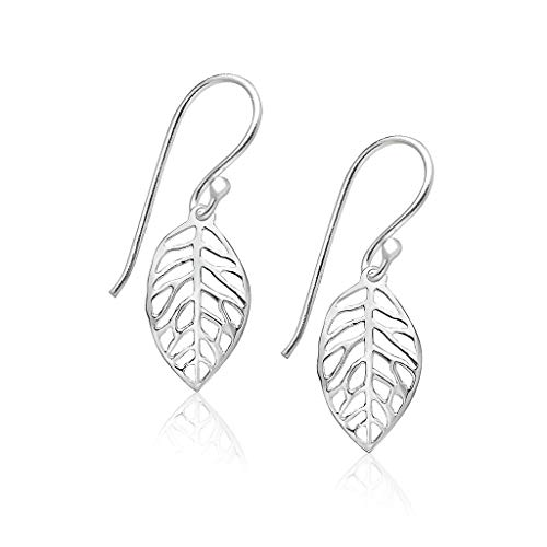 Big Apple Hoops - Genuine 925 Sterling Silver ''Beauty of Nature'' 24mm Filigree Leaf Dangle Hook Earrings | in Beautiful Polish Mirror Finish